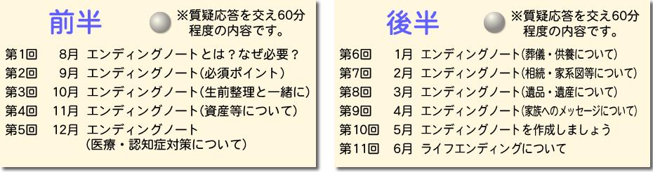 エンディングノート_書き方セミナー日程